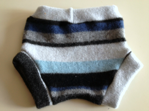 Medium Blue Striped Recycled Wool Soakers