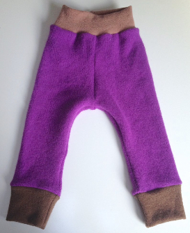 12-24 months - Diaper Cover Wool Longies - Purple with Brown Lambswool Angora Recycled Longies - lar