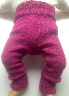 0-3+ months - Machine Knit Dark Pink Wool Longies - Wool Pants Diaper Cover - X-Small