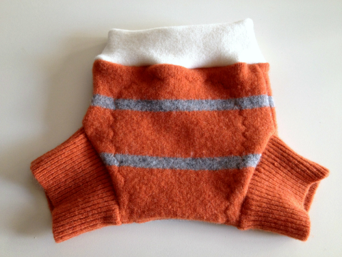 Sale - Small-long Orange Striped Recycled Wool Soakers