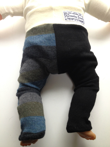 Sale - NB-SMall Recycled Merino Black and Stripes Harem Pants Longies