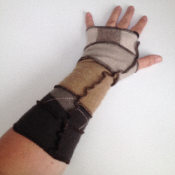 Beige, Brown and Taupe Recycled Wool Arm Warmers Fingerless Gloves