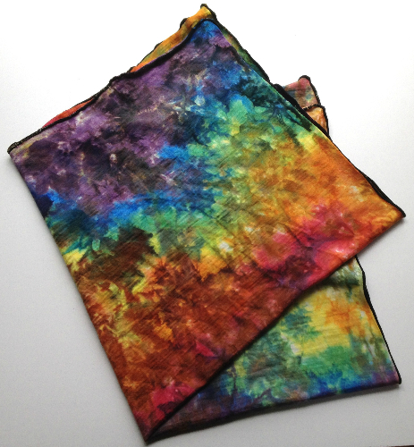 Hand dyed Wool Jersey Rainbow Blanket