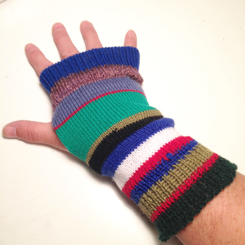 Scrappy Wool Knit Arm Warmers Fingerless Gloves