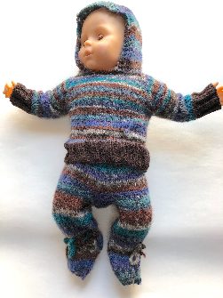 0-3+ Months - Hand knit wool Hoodie Sweater