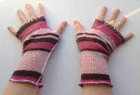 Pink Stripes Recycled Wool Arm Warmers / Fingerless Gloves