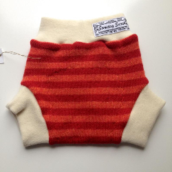 3-6+ Months - Recycled Red and Orange Striped Wool and Interlock Wool Diaper Soaker - Small