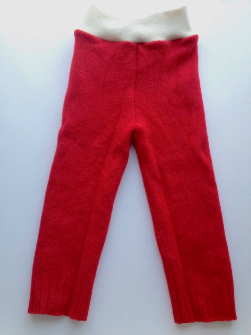 9-24 months - Diaper Cover Wool Longies - Red Recycled Lambswool Longies - Med-Large