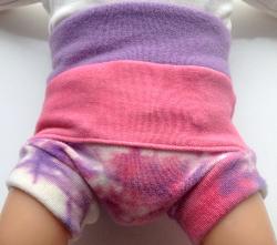 0-3+ Months - Hand dyed Pink and Purple Wool Interlock Diaper Soaker - Newborn / X-Small