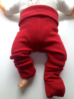 3-12 Months Convertible Footed Longies - Wool Diaper Cover Pants - Grow-with-me Longies. Red