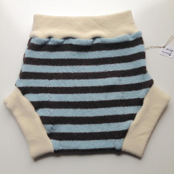 12-24+ months - Recycled Blue and Brown Stripes Wool Soaker - Large
