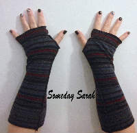 Black, Red and Navy Stripes Recycled Wool Arm Warmers Fingerless gloves