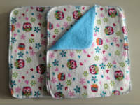 Double flannel Pink and Blue Owl Unpaper towels or Napkins