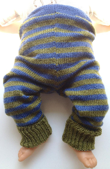3-18 months - Small-Medium Knit Wool Longies - Blue and Green Stripes Wool Baby Pants