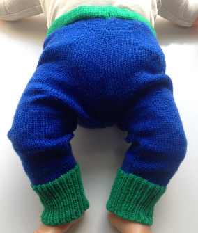 0-3 months - Machine Knit Blue and Green Wool Longies - X-Small