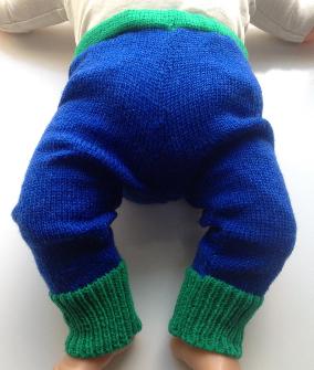 0-3 months - Machine Knit Blue and Green Wool Longies - X-Small