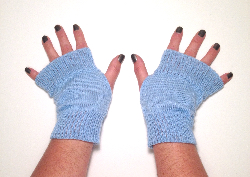 Blue Knit Arm Warmers Fingerless Gloves