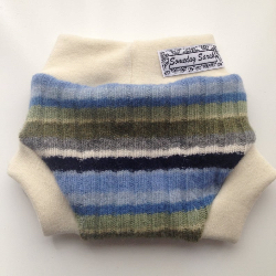 3-6 months Wool Diaper Cover - Recycled Blue and Green Stripes Lambswool and Interlock Wool Diaper S