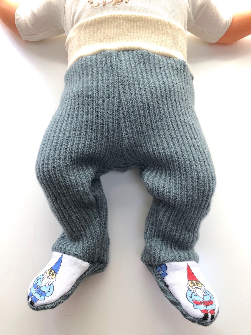 0-3+ Months - Upcycled Wool Gnome Footies Longies - Newborn / XS