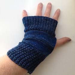 Blue Knit Wool Arm Warmers Fingerless Gloves