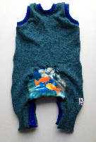 Recycled Teal Woolly Fish Bum Rompaloones Shorts - Size 12 months