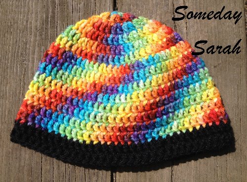Rainbow and Black Child's Crocheted Wool Hat
