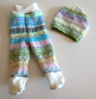Small Pink and Blue Patterned Recycled Wool Footies and Hat