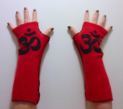 Red Cashmere Fingerless Gloves, Arm Warmers - OM