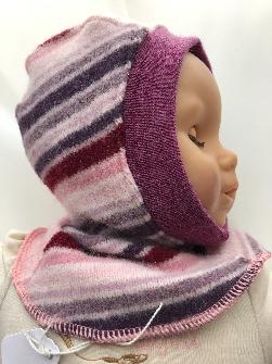 0-6 months Pink Striped Cashmere, Merino, Angora Blend Baby Balaclava