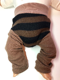 3-6+ months - Diaper Cover Wool Longies - Brown and Black Striped Recycled Wool Longies - Small