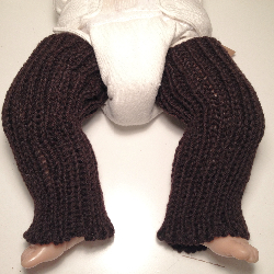 Dark Brown Knit Wool Baby Leg Warmers