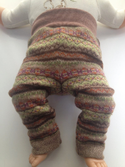0-3+ months - NB-Small Diaper Cover Wool Longies - Brown Patterned Recycled Lambswool Longies