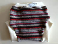 Large Red and Grey Striped Recycled Wool Soaker