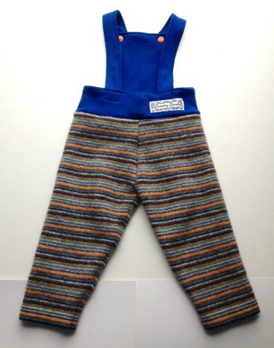 Sale - Large Recycled Orange and Blue Striped Longies Overalls with Interlock