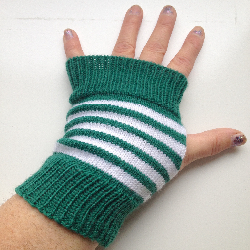 Green and White Fingerless Gloves Arm Warmers