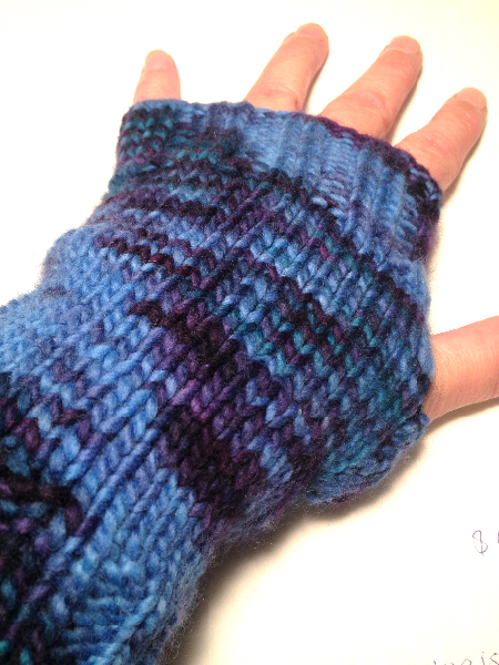 Blue Hand knit Wool Arm Warmers Fingerless Gloves