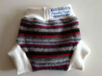 Small Red and Grey Striped Recycled Wool Soaker