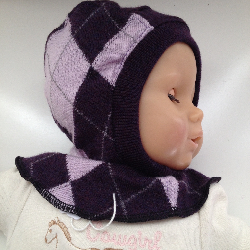 0-6 months Purple Argyle Merino Baby Balaclava