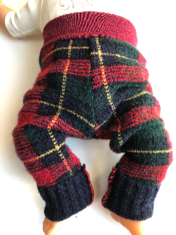 3-6 or 6-12 months - Plaid Wool Upcycled Longies