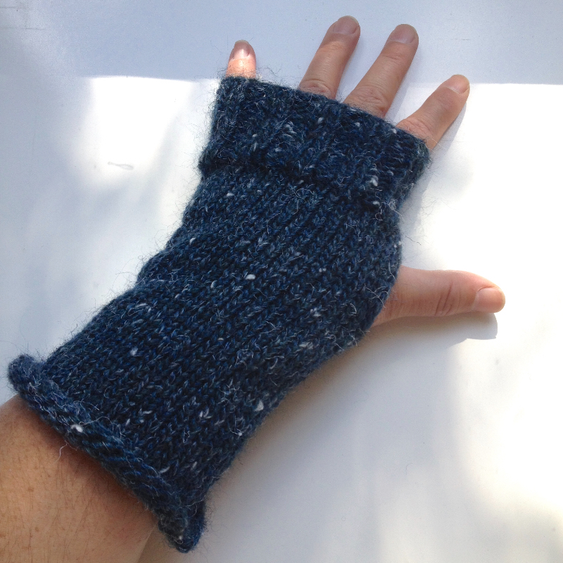 Blue Mohair Knit Arm Warmers Fingerless Gloves