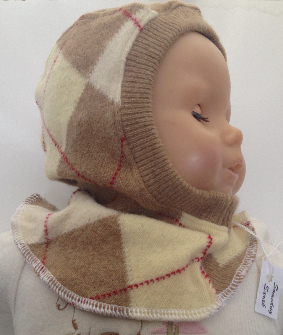 3-12 months - Taupe Argyle Lambswool , Angora and Cashmere Baby Balaclava