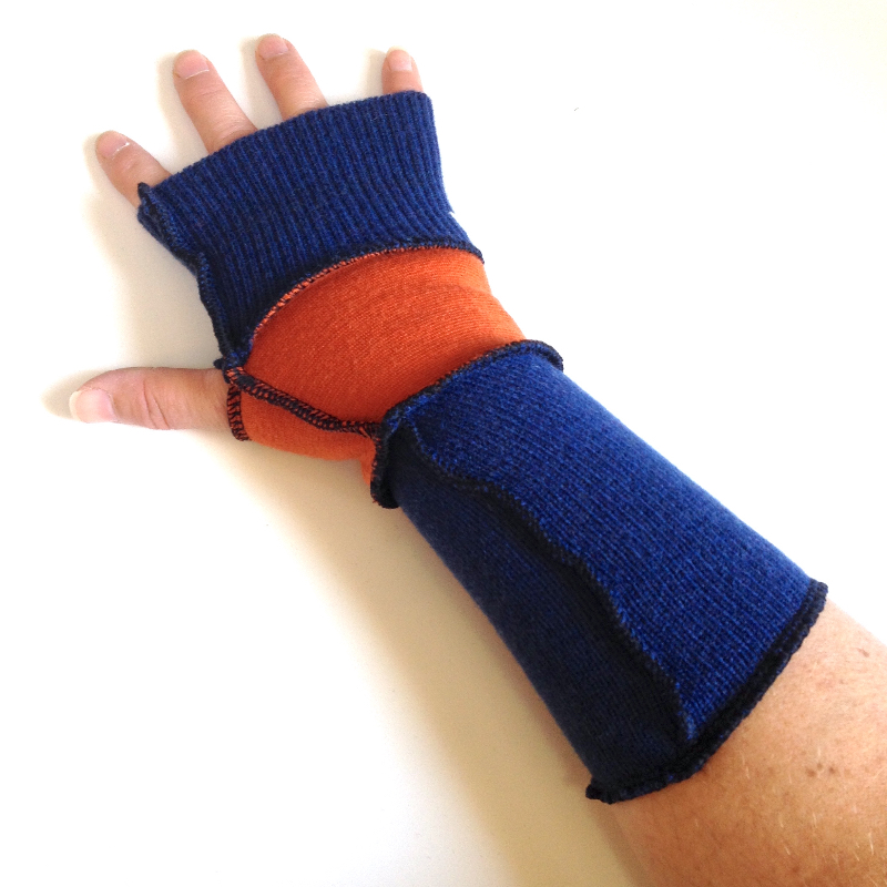 Orange and Blue Wool Fingerless Gloves Arm Warmers
