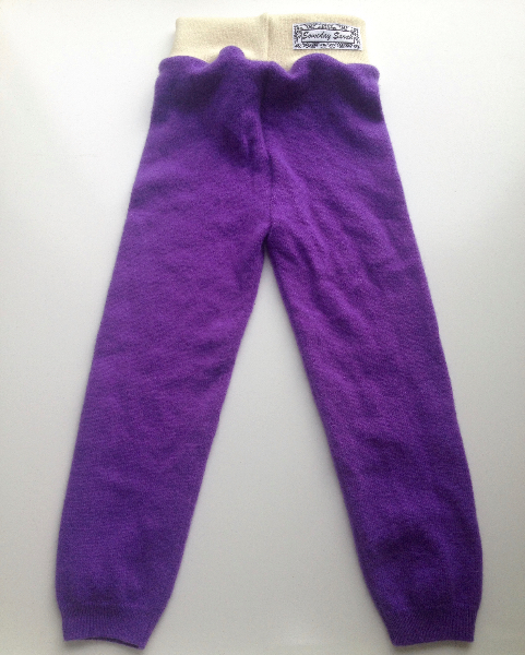 12-24+ Months - Up-cycled Purple Cashmere Longies - Large