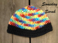 Rainbow and Black Crocheted Baby Wool Hat