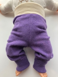 3-12 months - Up-cycled Purple Wool Longies - Small/Medium