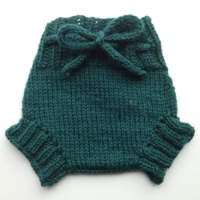Small Racing Green Hand Knit Wool Soaker, Diaper Cover and Photography Prop