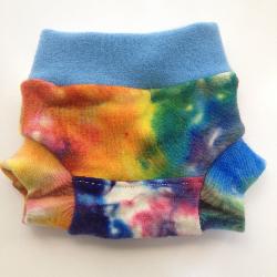 0-3+ months - Wool Diaper Cover - Hand dyed Rainbow and Blue Wool Interlock Diaper Soaker - Newborn