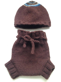 0-3 months - Diaper Cover and Hat Set - Dark Chocolate Brown Small-Newborn Baby Handknit Wool Soaker