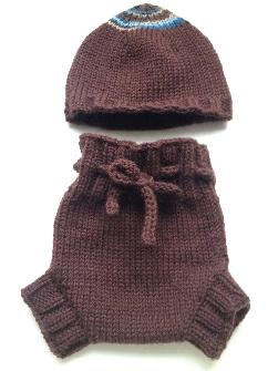 0-3 months - Diaper Cover and Hat Set - Dark Chocolate Brown Small-Newborn Baby Handknit Wool Soaker
