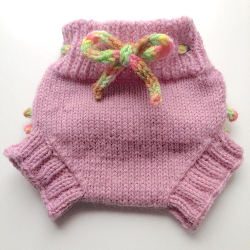 0-3 months - Diaper Cover Wool - Pink Baby Knit Wool Skirtie with Ruffles with Knit Drawstring - XS